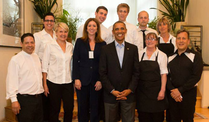"Serving President Barack Obama. ""One of the best days of my life! Such an honor .""-- Sandra Weise"